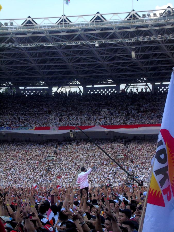 Candidates for President Joko Widodo campaign in front of hundreds of thousands of supporters at GBK Senayan. Jakarta, Indonesia - April 13, 2019: Candidates royalty free stock photography