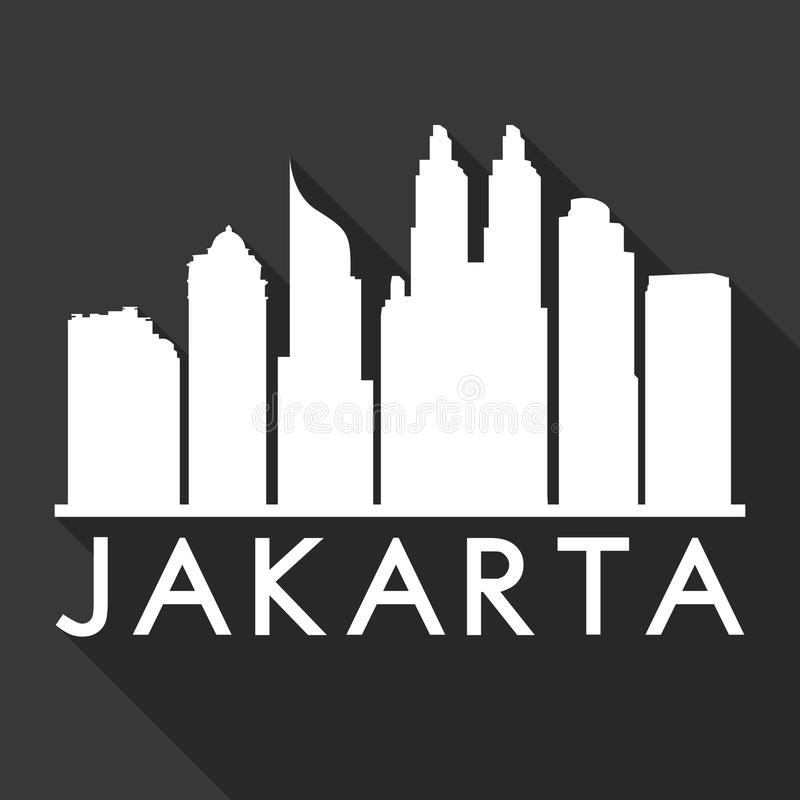Jakarta Indonesia City Skyline Silhouette Black Background