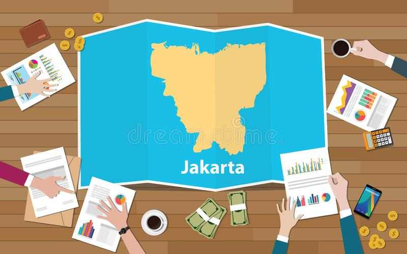 Jakarta indonesia capital city region economy growth with team discuss on fold maps view from top royalty free illustration