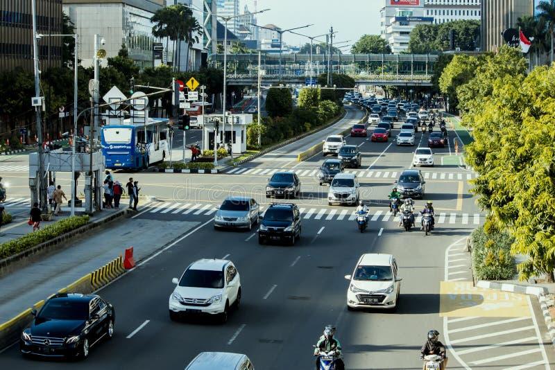 Heavy traffic in the city of Jakarta stock photos