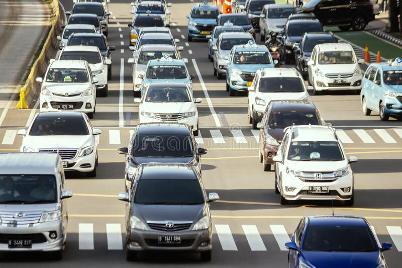 Heavy traffic in the city of Jakarta stock photography
