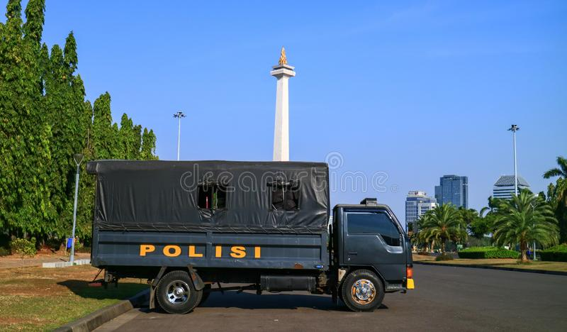 Police car. Jakarta, Indonesia - July 24, 2019: Police car at Merdeka square in Central Jakarta royalty free stock photos
