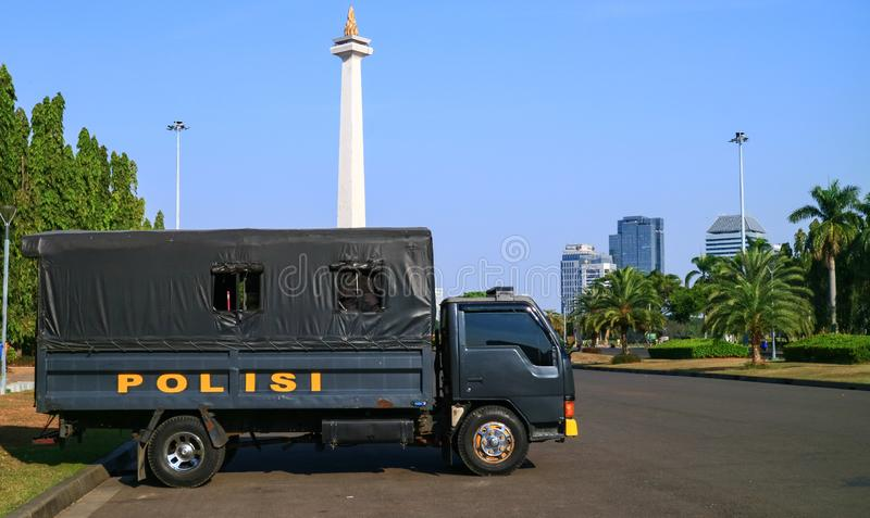Police car. Jakarta, Indonesia - July 24, 2019: Police car at Merdeka square in Central Jakarta stock photography