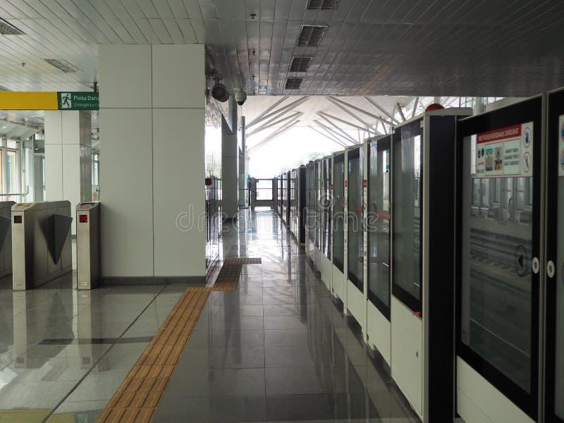 LRT Jakarta. Jakarta, Indonesia - June 17, 2019: The platform hallway of Kelapa Gading Boulevard Selatan LRT Station stock images