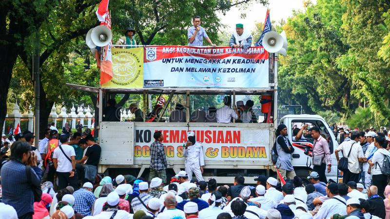 Prabowo`s Supporters. Jakarta, Indonesia - June 27, 2019: Prabowo`s supporters protest near Constitutional Court MK in Central Jakarta royalty free stock photo
