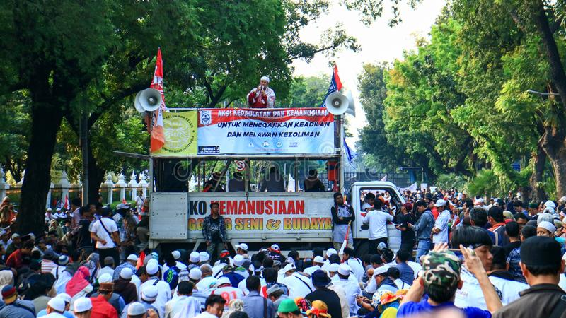 Prabowo`s Supporters. Jakarta, Indonesia - June 27, 2019: Prabowo`s supporters protest near Constitutional Court MK in Central Jakarta stock image