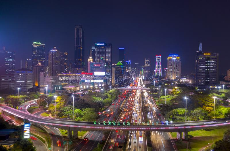 Aerial view of hectic traffic along the Sudirman highway. JAKARTA, Indonesia - November 12, 2018: Aerial view of hectic traffic along the Sudirman highway near royalty free stock photos