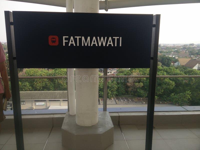 Jakarta/Indonesia transito rapido di massa ( di Jakarta del 21 aprile 2019; MRT) - Stazione di Fatmawati fotografia stock libera da diritti