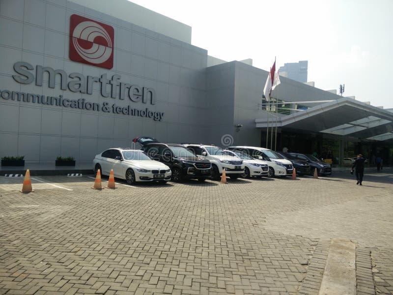 Jakarta/Indonesien juli 15 2019 smartfren huvudkontoret, sabang Jakarta royaltyfri fotografi