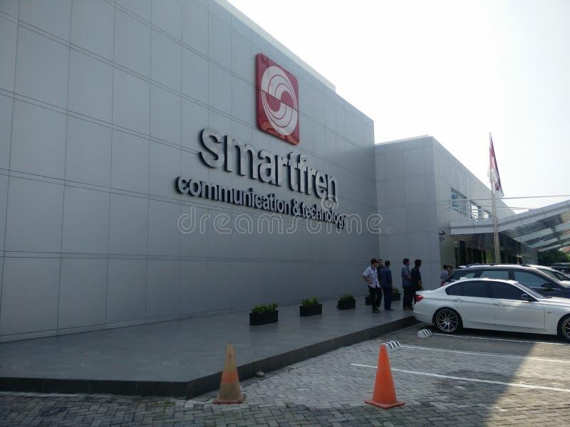 Jakarta/Indonesien juli 15 2019 smartfren huvudkontoret, sabang Jakarta arkivfoton