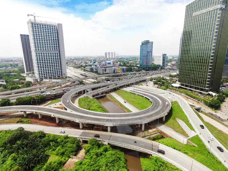 Jakarta Intra Urban Toll Road, Jakarta - Indonesia. The stretch of Jakarta Inner Ring Road began with the opening of Jalan Jenderal Gatot Subroto which intersect stock photography