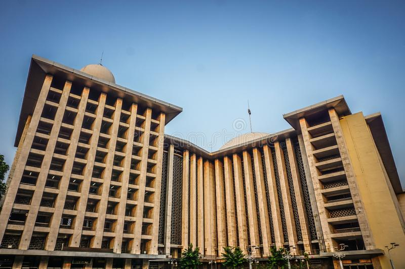 Jakarta istiqlal mosque from front view skyscrapper building stock images