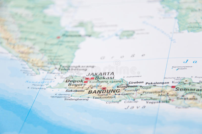 Jakarta Java Indonesia CloseUp Of Map Stock Image Image of
