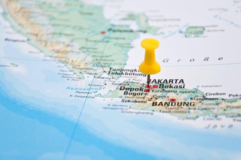 Jakarta java indonesia yellow pin close up of map stock photo download jakarta java indonesia yellow pin close up of map gumiabroncs Images