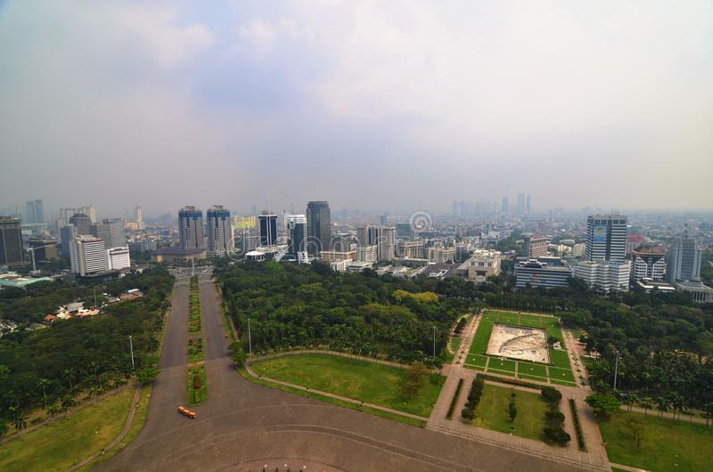 Jakarta Landscape from Merdeka Square, Indonesia. Landscape of foggy Jakarta, the capital of Indonesia. Photo taken from Monas - national monument in merdeka royalty free stock images