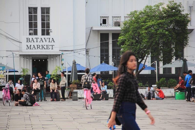 jakarta Maj 27th, 2017 Batavia marknadsför, Kota Tua royaltyfria foton