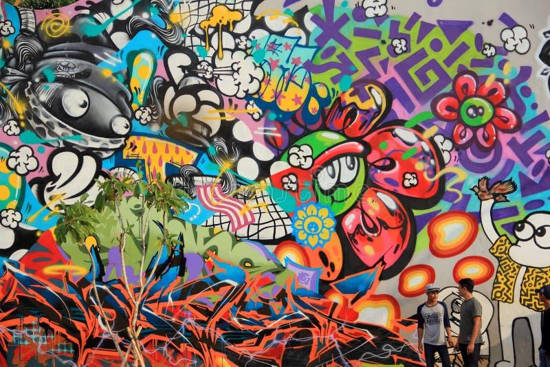 jakarta Maj 27th, 2017 Grafitti i Kalijodo arkivfoton