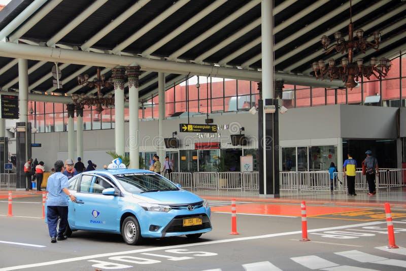 jakarta Maj 27th, 2017 Terminal 1B Soekarno-Hatta Internationa fotografering för bildbyråer