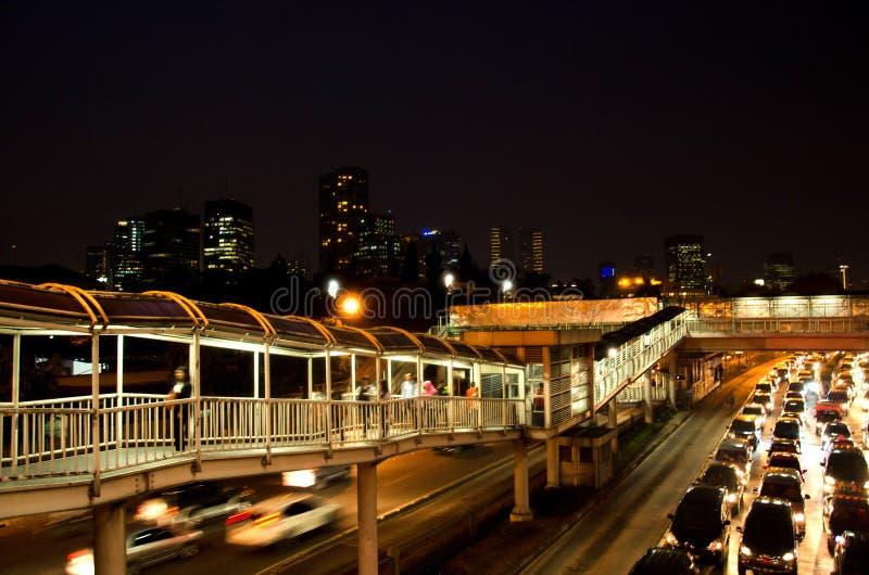 Jakarta-Nacht, macet lizenzfreies stockfoto