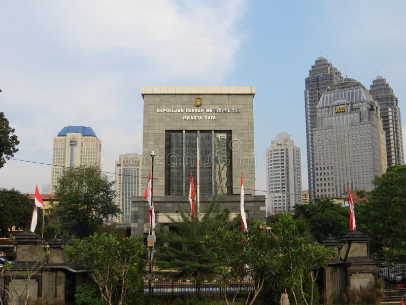 Jakarta Police Headquarters. JAKARTA, INDONESIA - July 14, 2017: Jakarta Police Headquarters Polda Metro Jaya on Sudirman road stock photos