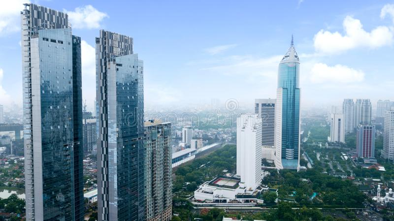 Jakarta`s office and apartment buildings at Central Business District near Sudirman Road royalty free stock image