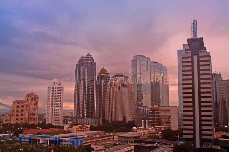 Jakarta stad Scape royaltyfria foton