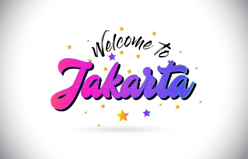 Jakarta Welcome To Word Text with Purple Pink Handwritten Font and Yellow Stars Shape Design Vector royalty free illustration
