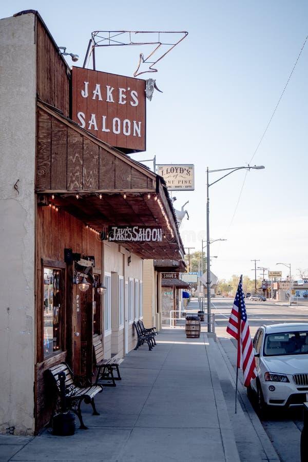 Jakes sörjer den västra salongen i den historiska byn av ensamt - ENSAMT SÖRJA CA, USA - MARS 29, 2019 arkivfoto