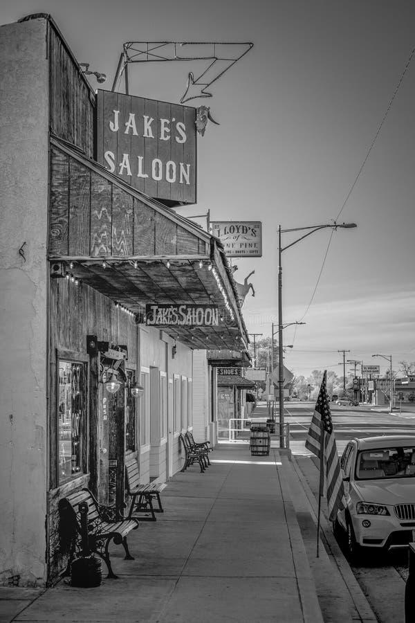 Jakes s?rjer den v?stra salongen i den historiska byn av ensamt - ENSAMT S?RJA CA, USA - MARS 29, 2019 arkivfoton