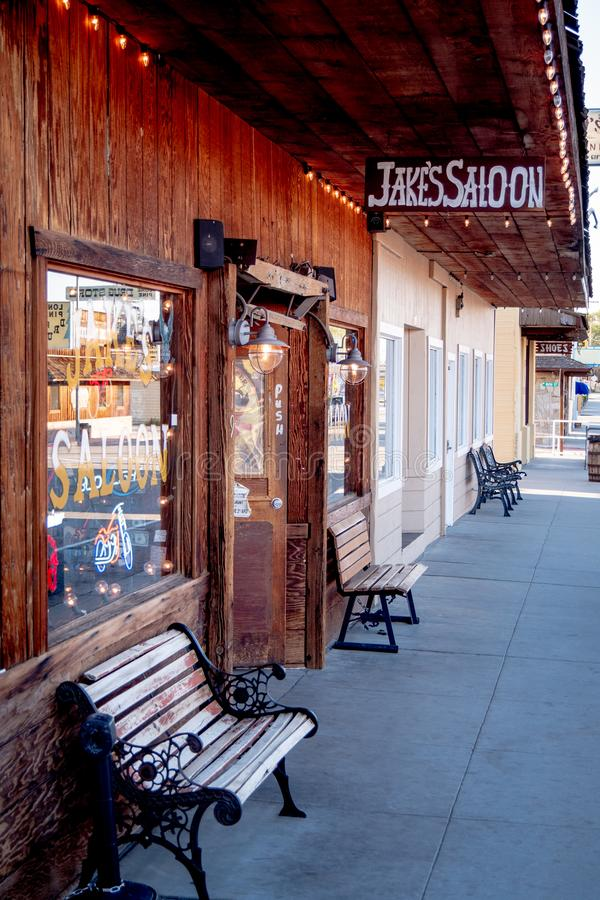 Jakes Wild West Saloon in the historic village of Lone Pine - LONE PINE CA, USA - MARCH 29, 2019. Jakes Wild West Saloon in the historic village of Lone Pine stock photos