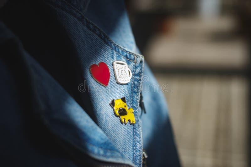 Jaket de goupilles et de jeans photo libre de droits