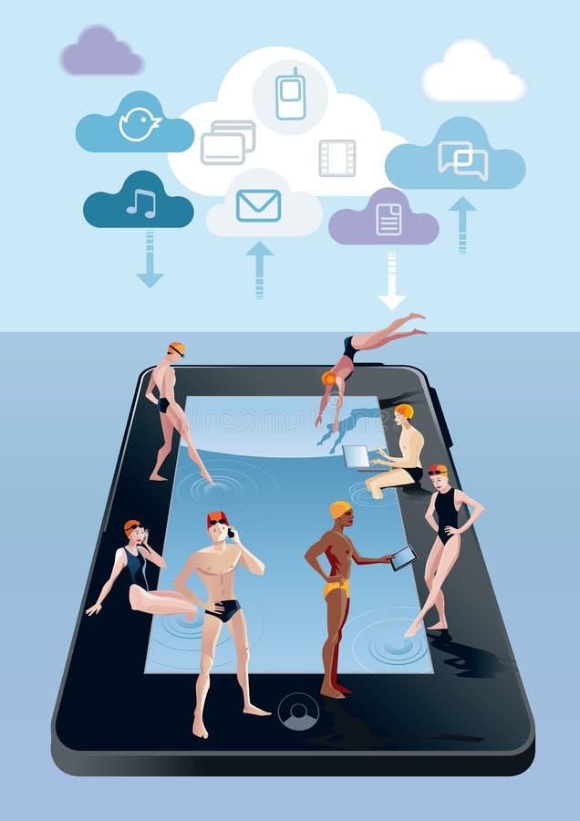 jako błękitny cyfrowa basenu dopłynięcia pastylka ilustracji