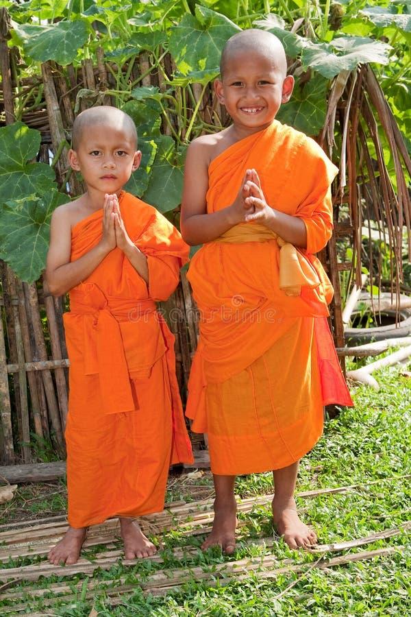 jako buddyjscy dzieci Laos nowicjuszi obrazy royalty free