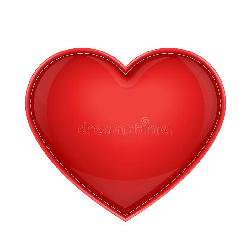 Jako serce czerwona rzemienna poduszka ilustracja wektor
