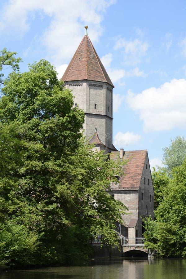 Jakober-Felsen in Augsburg stockbild