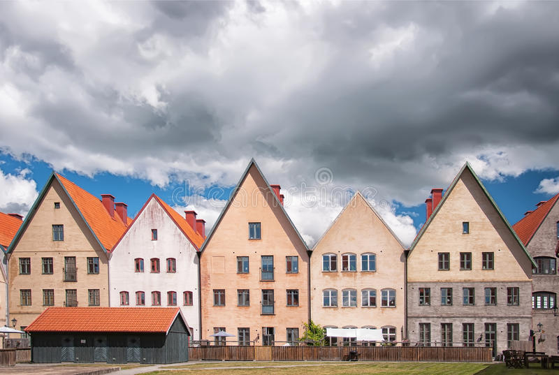 Jakriborg, Sweden 22. JAKRIBORG, SWEDEN - JUNE 24: Picture of street in Jakriborg, Sweden on June 24, 2014. Jakriborg is a new classical housing project built in stock photography