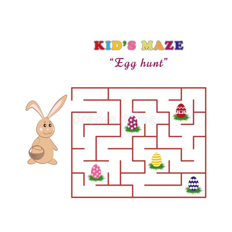 Jakt för ägg för labyrint för unge` s med en gullig easter kanin Labyrint för barn` s i tecknad filmstil på en vit bakgrund royaltyfri illustrationer