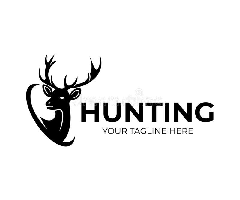 Jakt och hjortar med horn, logodesign Natur och djurliv, vektordesign royaltyfri illustrationer