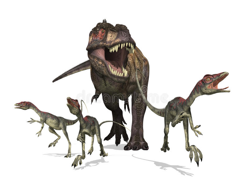 jaktrextyrannosaurus royaltyfri illustrationer