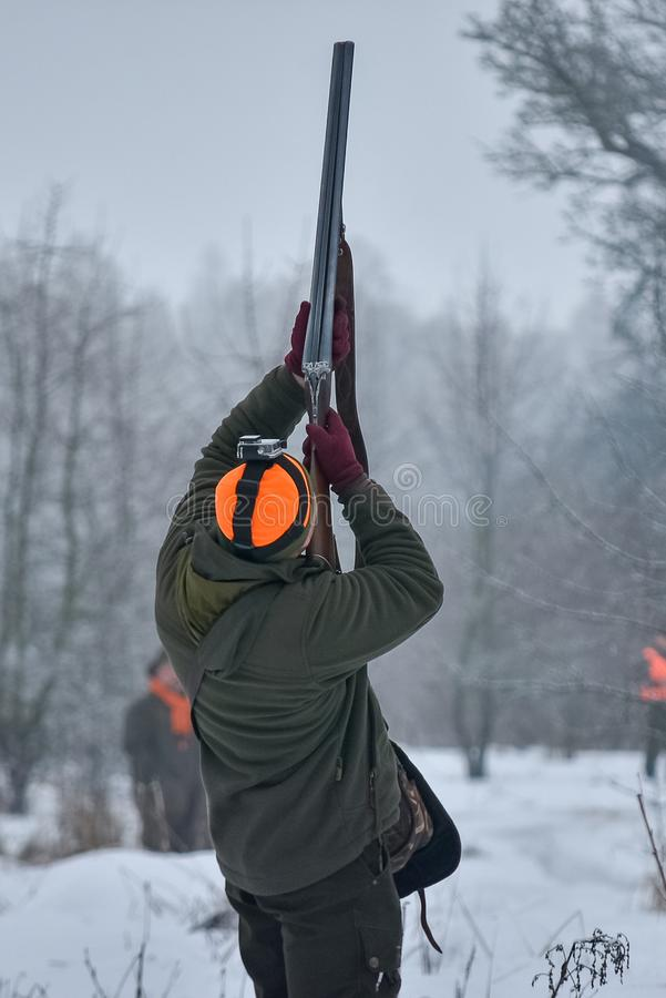 Jaktsäsong, fågeljakt Jägaren skjuter upp fåglarna som flyger ovanför honom arkivbild