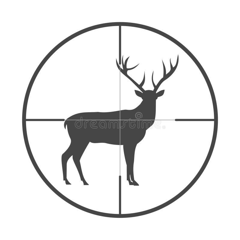 Jaktsäsong med hjortar i symbol för vapensikt royaltyfri illustrationer