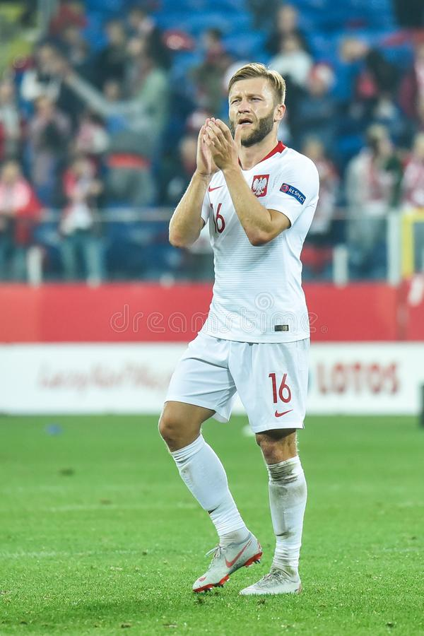 Jakub Blaszczykowski after tha match. CHORZOW, POLAND - OCTOBER 11, 2018: Football Nations League division A group 3 match Poland vs Portugal 2:3 . In the stock photography