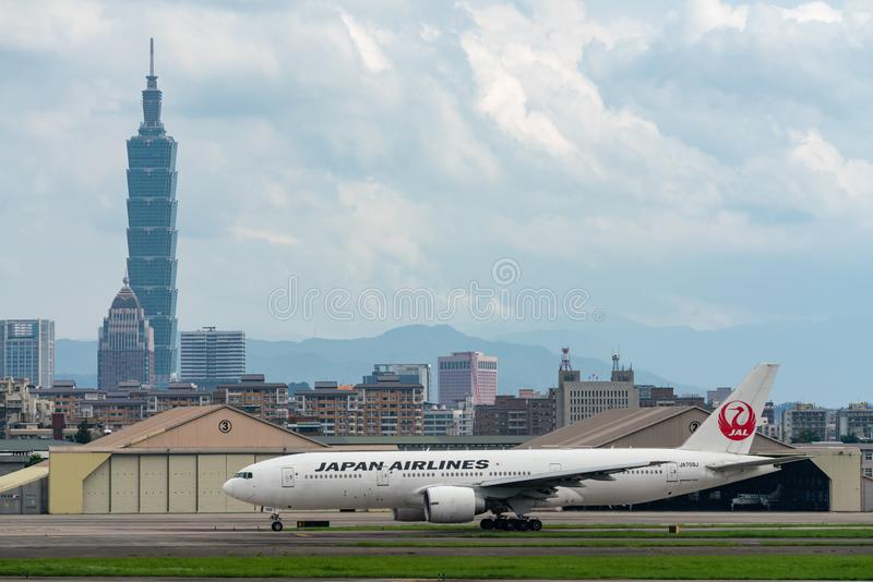 JAL Boeing 777-200ER taxing stock photo
