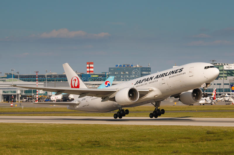 JAL. PRAGUE - JULY 17: B777 Japan airlines take off from PRG in Prague, CZE on July 17, 2017. Japan Airlines JAL operates almost 900 daily flights stock photos