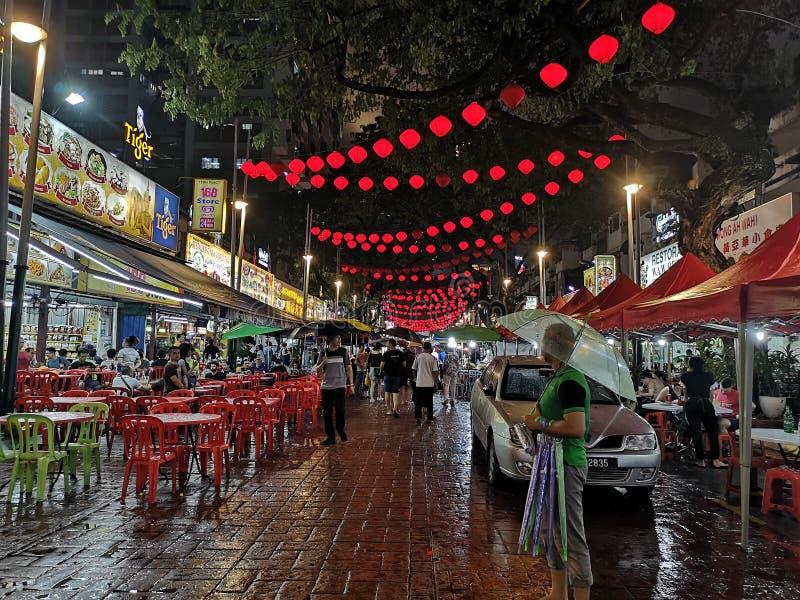 Jalan Alor street food area in Bukit Bitang, Kuala Lumpur, Malaysia. Tasty, asian, chinese, rain, travel, tourists stock photo