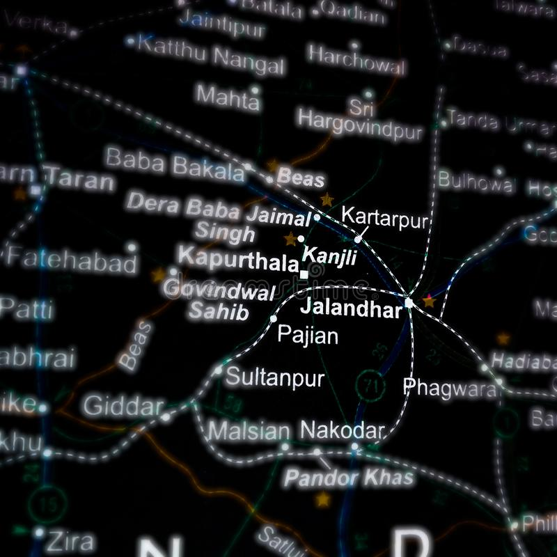 Jalandhar city in panjab displaying on geographical location map in India royalty free stock image
