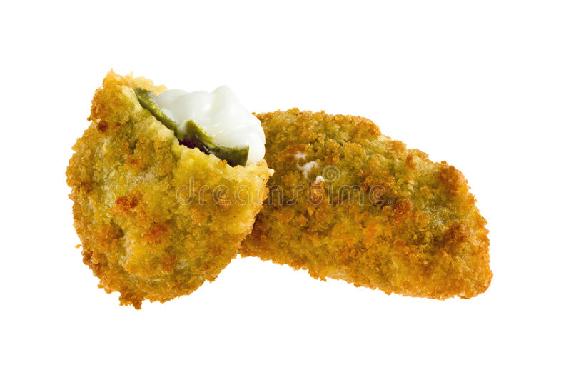 Jalapeno poppers. With cheese isolated on white background stock images