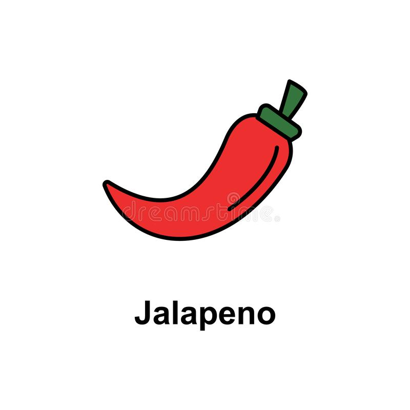 Jalapeno, vegetable icon. Element of Cinco de Mayo color icon. Premium quality graphic design icon. Signs and symbols collection vector illustration