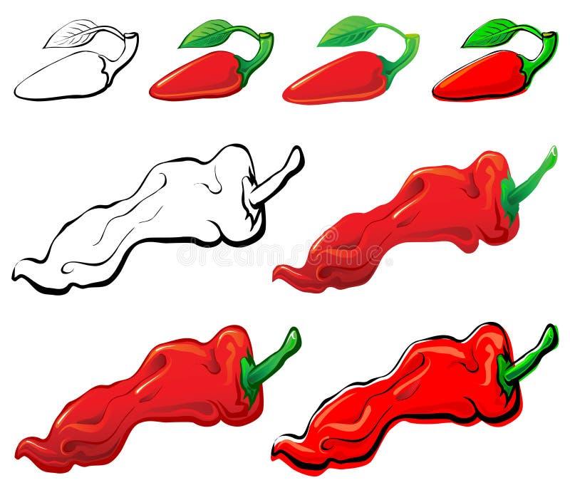 Jalapeno y pimienta roja ilustración del vector
