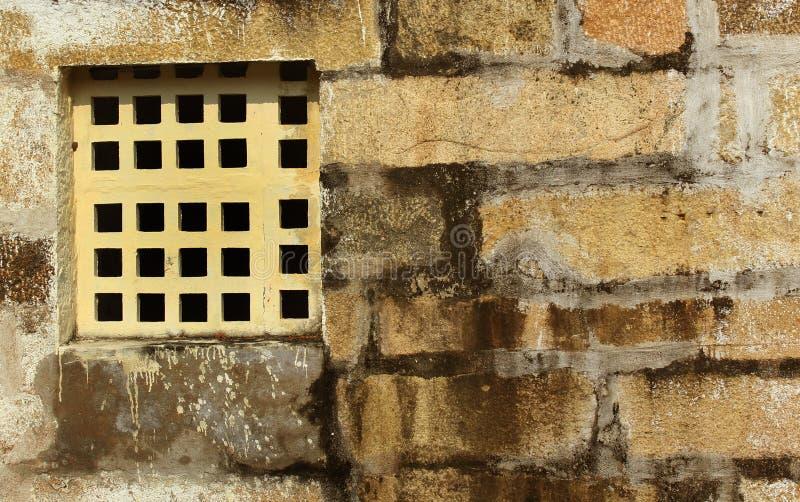 Jali âgé de fenêtre fait à partir de la composition en carbonate de calcium photos libres de droits